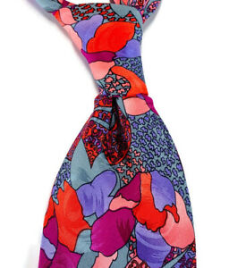 Vitaliano-Pancaldi-Tie-Abstract-Floral-Vibrant-Pink-Red-Blue-Gray-Necktie-Silk