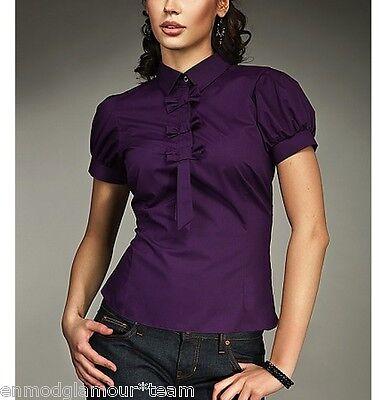 Chemisier Femme violet manche ballon cravate mode chic NIFE K27 36 38 40 42