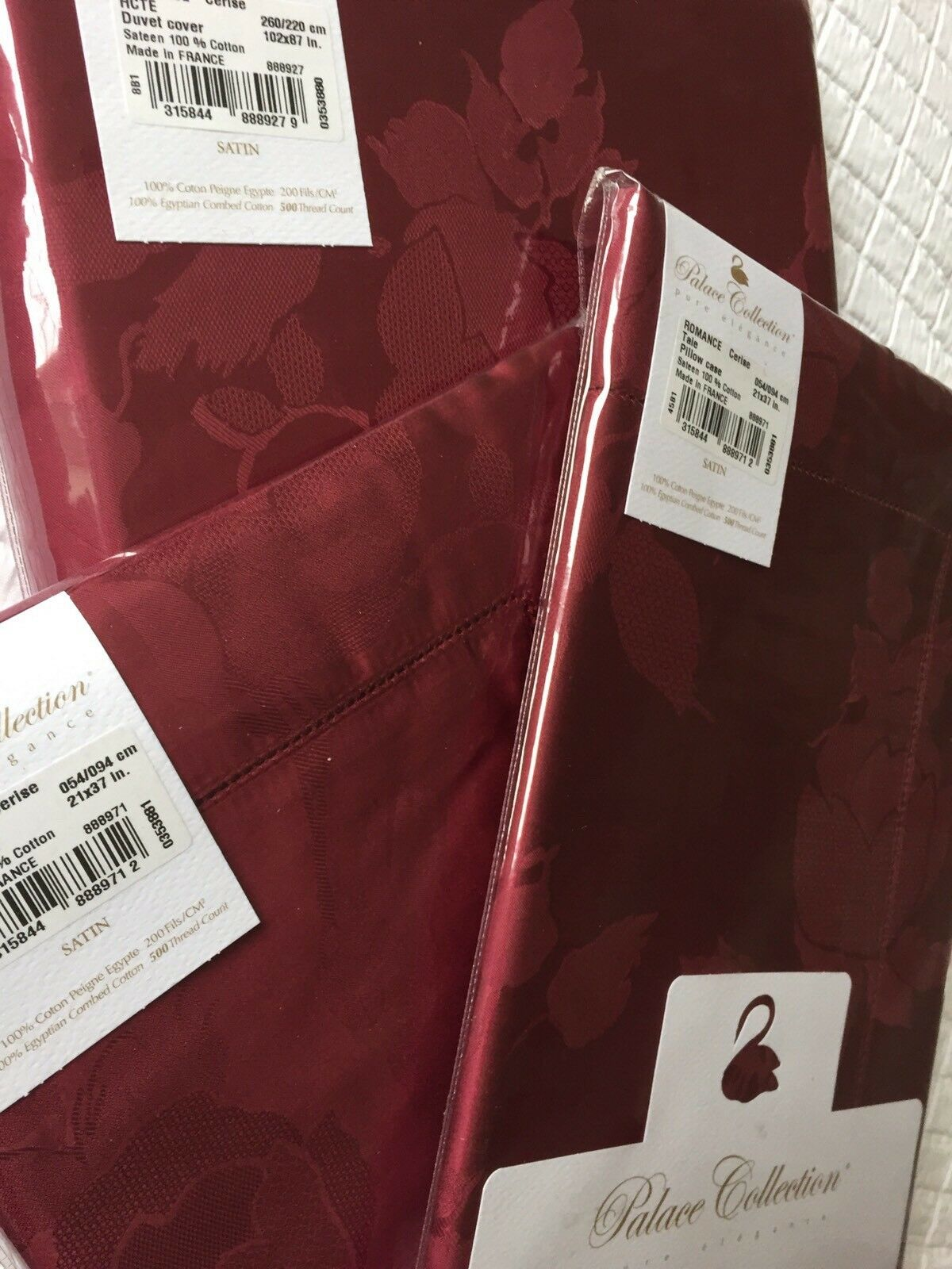 Yves DELORME ROMANCE SUPERKING DUVET Cover+PAIR OF KING PILLOWCASES LUXURY