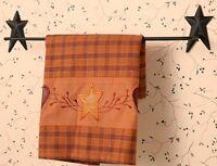 Primitive Country Folk Art Black Star Bath Towel Holder Wall Bar Rack