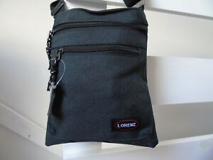 Men's Boy's Black Canvas Holiday Messenger Cross Body Shoulder Side Bag Pouch