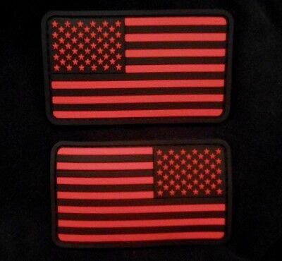 US FLAG PVC LEFT RIGHT REVERSE SHOULDER BLACK OPS RED VELCRO® BRAND 2 PATCH