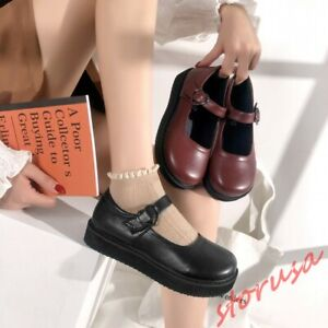 Details about  /Lolita Round Toe Womens Cosplay Maid Shoes Mary Janes Flats Oxfords Pumps