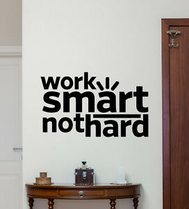 Work Smart Quote Wall Decal Motivational Vinyl Sticker Art Office - Wall decals motivational quotes