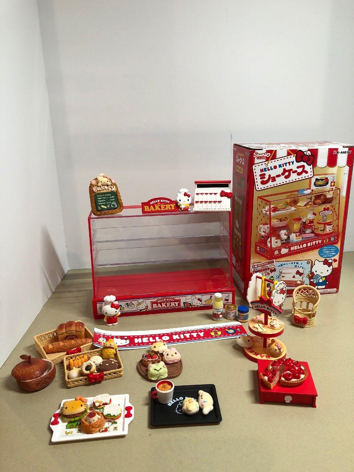 Re-ment Miniatura Mini Sanrio Hello Kitty Juego de escaparate Armario de visualización de panadería
