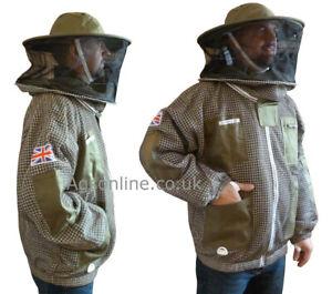 🐝Round hat veil bee Jacket 3 Layer Ultra Ventilated Green Beekeeping Jacket