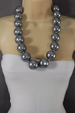 Women Grey Big Imitation Pearl Beads Fashion Tie Fabric Necklace Chunky Dressy