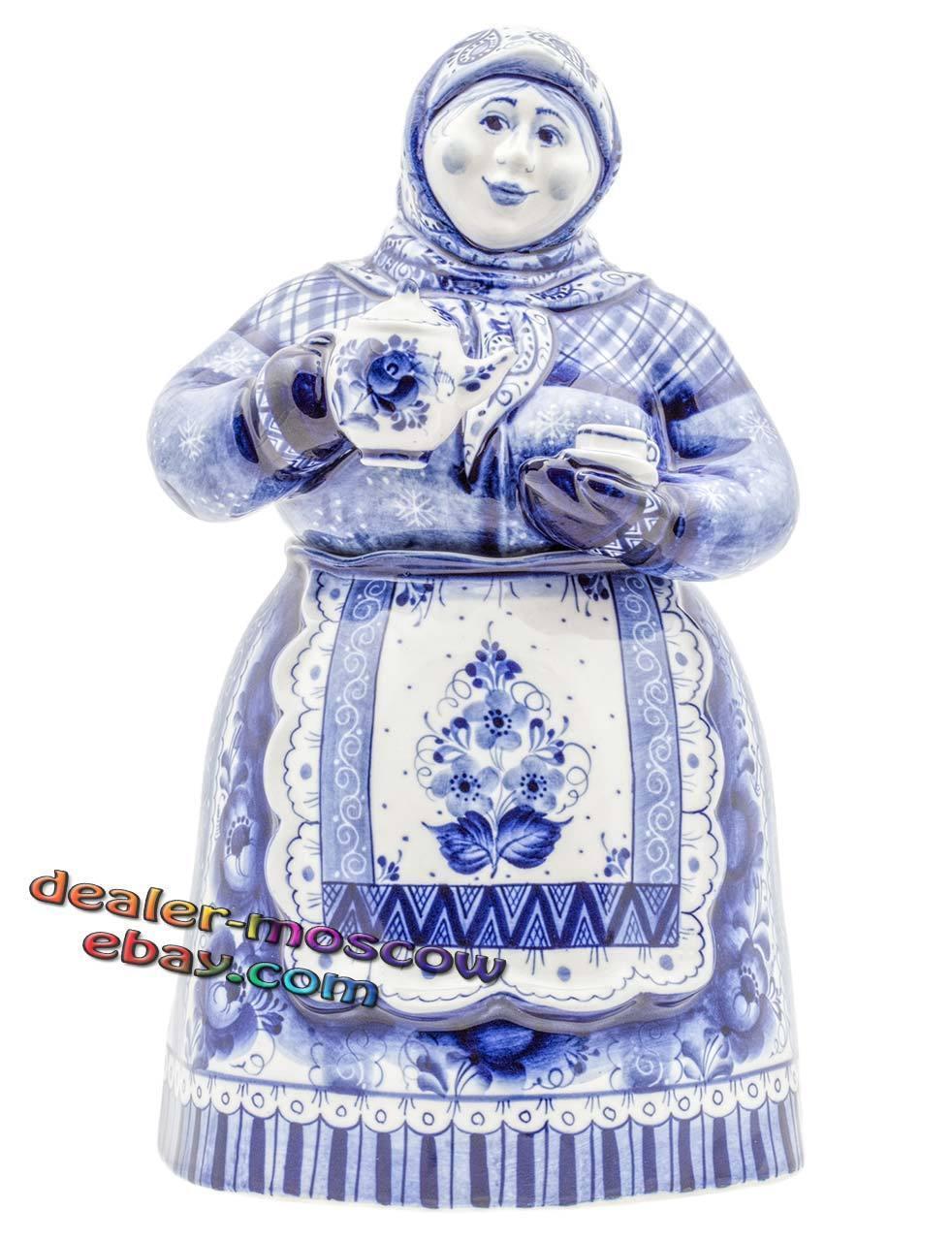 Russe porcelaine auteur Gzhel peint à la main Big Support Pour Thé Matrena figurine