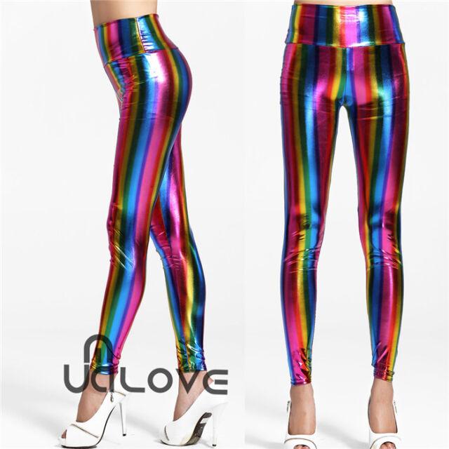Ladies Shine Rainbow Coloured Tight pants High Waist Wet Look Stripe Leggings UK