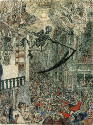 JAMES ENSOR DEATH CHASING A FLOCK OF MORTALS GICLEE PRINT FINE CANVAS