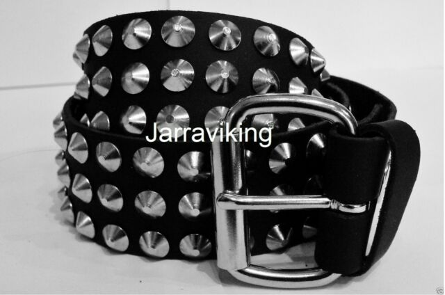 M S XL L SKB2 GOTHIC//ROCK BLACK REAL LEATHER 2 ROWS SKULL STUDDED BELT