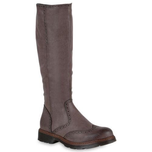 Klassische Stiefel Damen Hochwertige Leder-Optik Schuhe 818879 Top