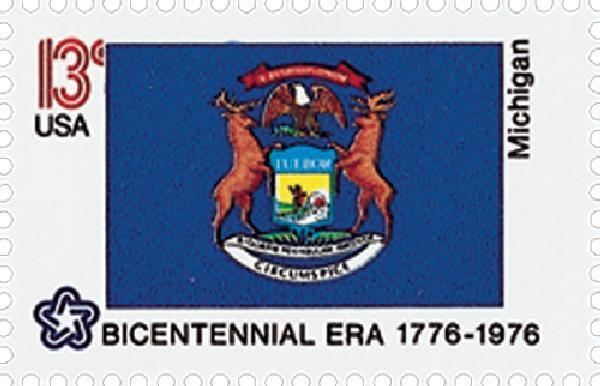 1976 13c Michigan State Flag, Bicentennial Era Scott 16