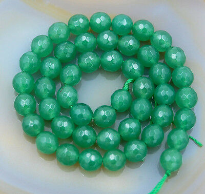 """Natural Malay Jade Faceted Round Beads 15.5"""" 4mm 6mm 8mm 10mm"""