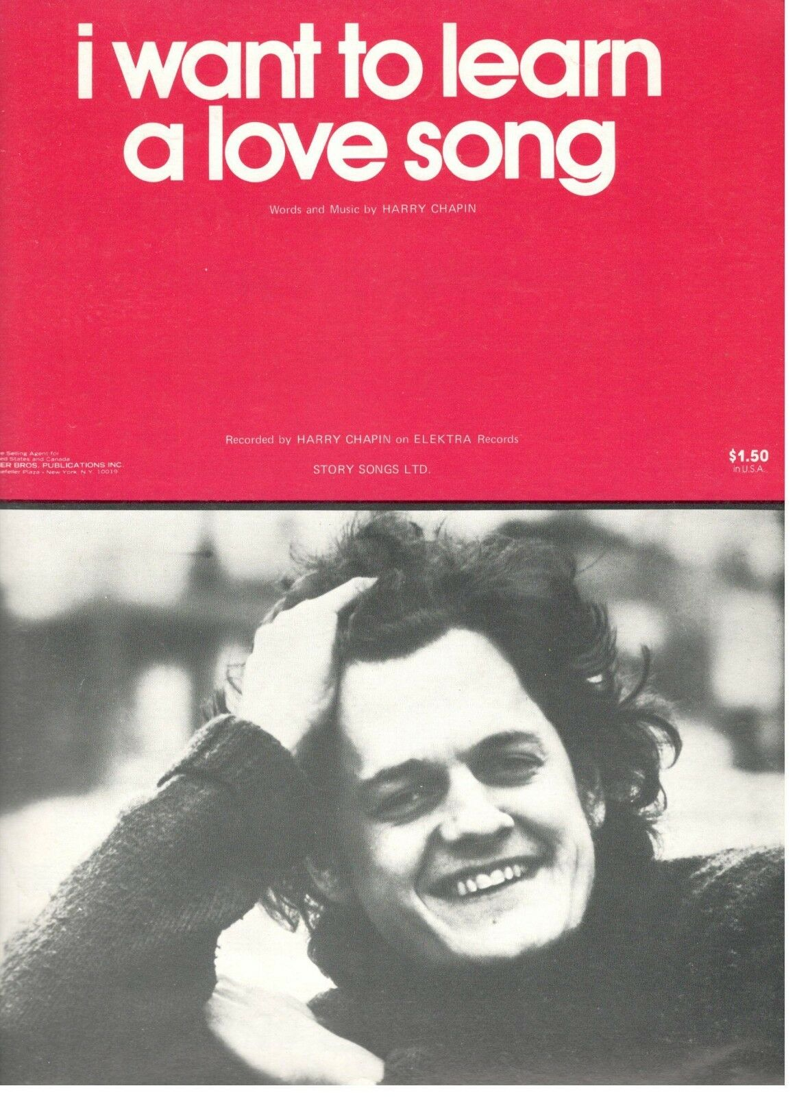 HARRY CHAPIN-I WANT TO LEARN A LOVE LOVE LOVE SONG-SHEET MUSIC-PIANO/VOCAL/CHORDS-1974-NEW cc1e09