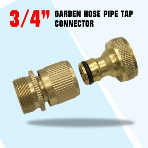 "3//4/"" Garden Hose Pipe Tap Connector Fittings Brass Water Quick Adaptor 1 Set"