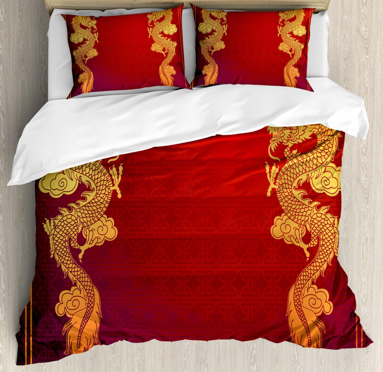 Dragon Duvet Cover Set with Pillow Shams Historic Asian Creature Print