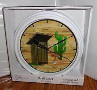 Outhouse Wall Clock. 9 Dia. 2 Holer Office.....free Shipping
