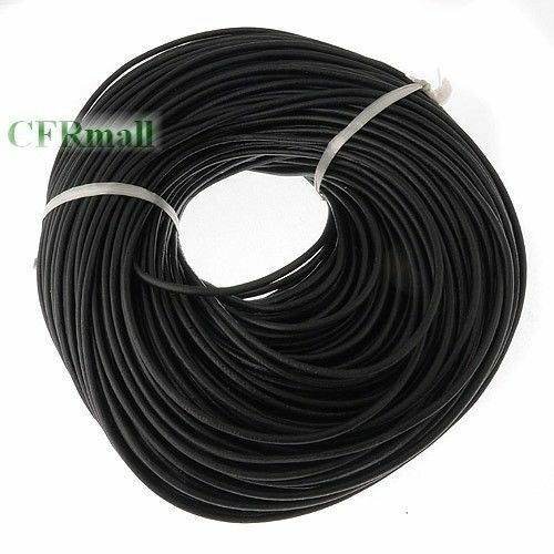 100% Real Genuine Leather Thong Cord- 1.5mm 2mm 2.5mm 3mm 4mm - Black 5-100 M
