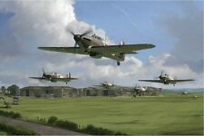 HURRICANE SCRAMBLE LIMITED ED PRINT BY SIMON SMITH 32 SQN BATTLE OF BRITAIN