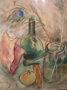 MID-CENTURY-MODERN-STILL-LIFE-BOTTLE-VINTAGE-ABSTRACT-SIGNED-1968