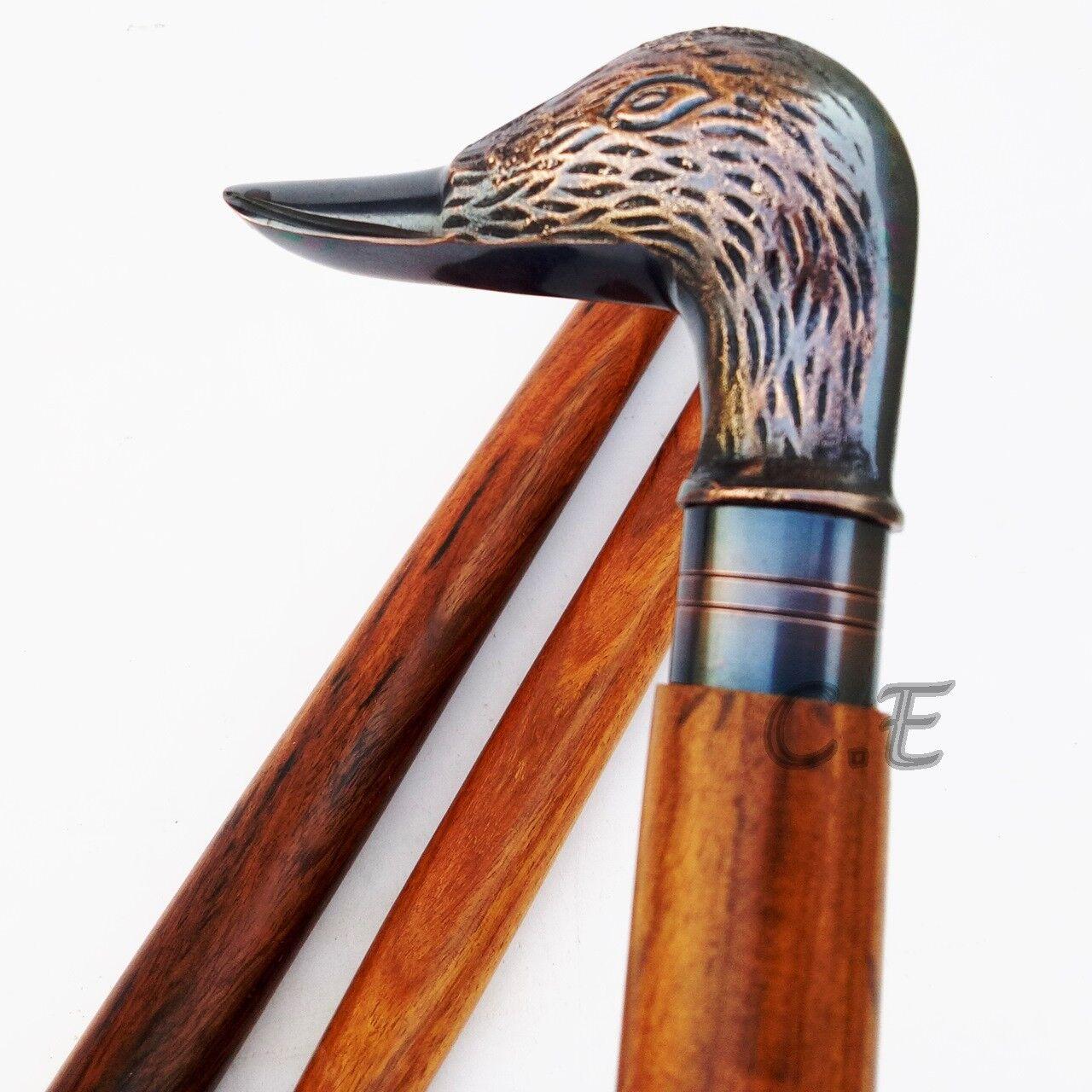 Vintage Antique Duck Head Walking Cane Wooden Walking Stick Brass Handle Gifts