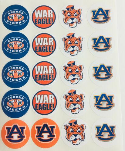 """SET of 20-2/"""" AUBURN TIGERS ADHESIVE STICKERS.Make Cupcake Toppers"""