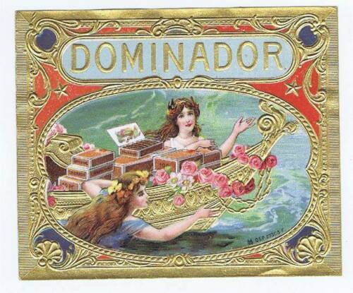 woman with boat of cigars Dominador original outer cigar box label