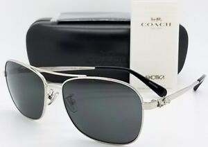 New-Coach-sunglasses-HC7080-900187-55mm-Silver-Grey-Rectangle-carriage-AUTHENTIC