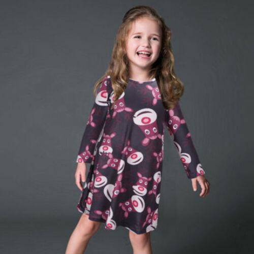 Mädchen Kinder Weihnachtskleid Tütü Tunika Kleid Weihnachten Party Kleider HS