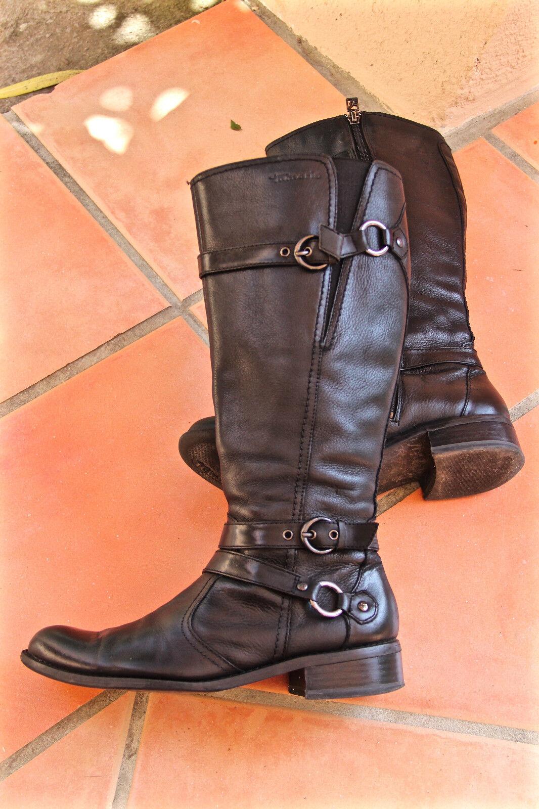 Lujosos botas forradas con cremallera de cuero negro negro negro TAMARIS talla 36 COMO NUEVO  barato en línea