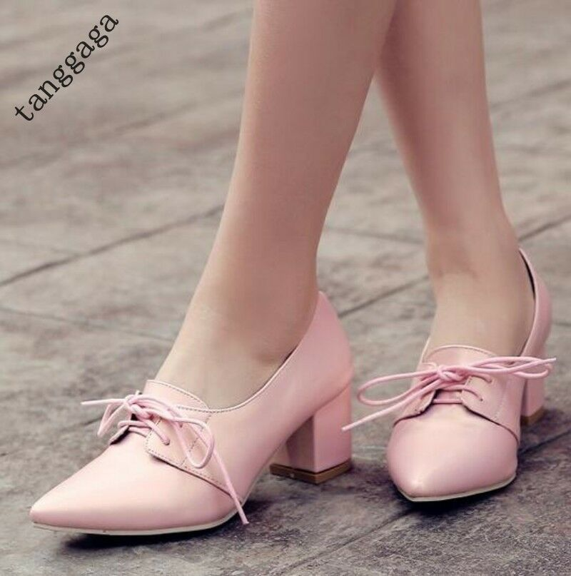 Womens Spring Elegant Sweet Pointed Toe Lace Up Mid Heels Work Office Size shoes