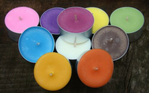 100pk Scented ECO SOY TEA LIGHT CANDLES .. LONG BURNING CHOOSE YOUR COLOUR
