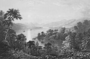 SCOTLAND-Lake-Loch-Katrine-from-Craiginess-1839-Antique-Print-Engraving