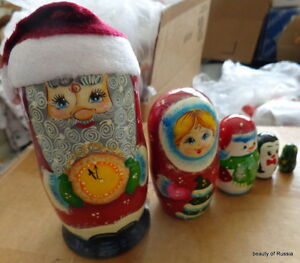 "Russian hand painted wood Santa snowmaiden snowman 5 pcs nesting doll 6.5"" #2"