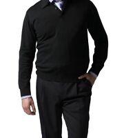 Knightsbridge Super 100s Wool Stretch Gabardine Mens Pants 1 Pleat Black 40