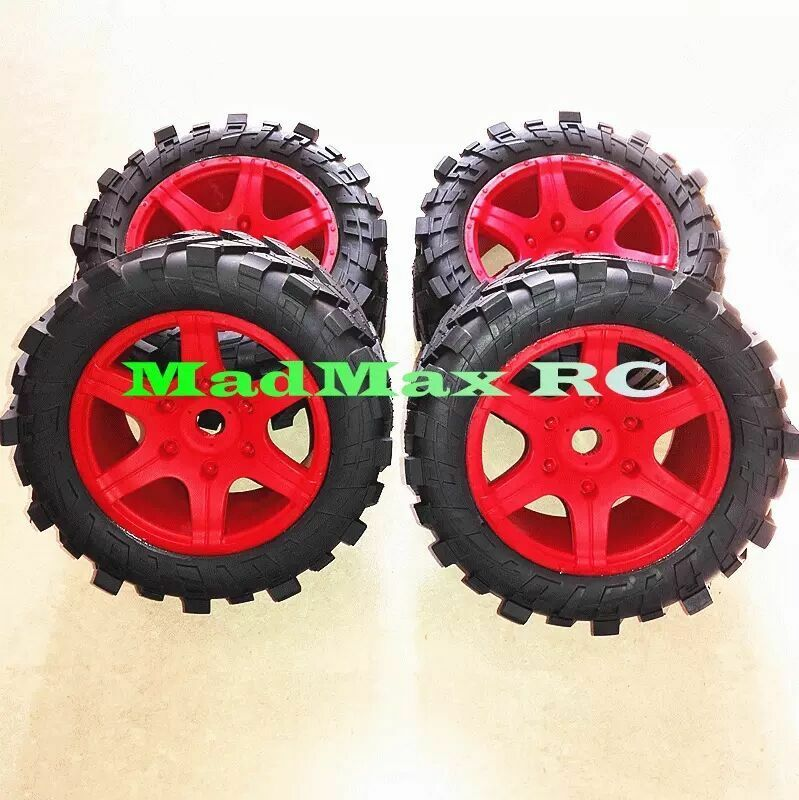 Wheel tires with wheel nuts 4PCS  rosso for for for 1/5 Traxxas x maxx 220MM*105MM 13de85