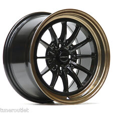 "ULTRALITE UL12 15"" x 8.25J ET20 4x100 4x108 BLACK BRONZE ALLOY WHEELS Y3170"