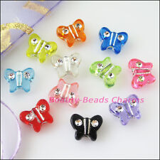 80Pcs Mixed Acrylic Plastic Animal Butterfly Spacer Beads Charms 9x11mm