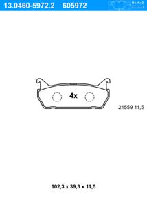 UATplaquette de frein arrière 13.0460-5972.2 scheibenbremsbelagsatz Plaquettes De Frein