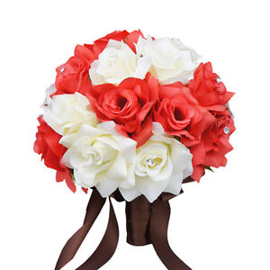 10 bridal bouquet wedding silk flower ivory coral reef ebay image is loading 10 034 bridal bouquet wedding silk flower ivory mightylinksfo