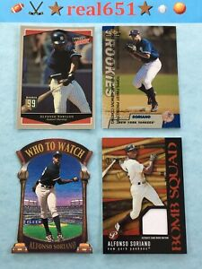 1999-ALFONSO-SORIANO-Rookie-SP-Lot-x-16-Jersey-Finest-Ultimate-Victory-Foil-UD