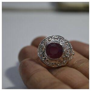 925-Silver-Natural-Certified-9-25-Carat-Ruby-Gemstone-Vintage-Handmade-Ring