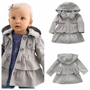 821643022 Girls Toddlers Wind Hooded Jacket Trench Coat Fall Winter Outwear ...