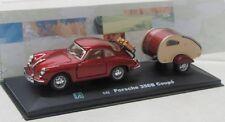 Porsche 356 B Coupe mit Anhänger , Wohnwagen / rot met. / Cararama 1:43