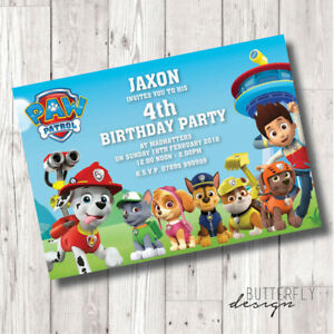 Image Is Loading Paw Patrol Birthday Party Personalised Invitations X 8