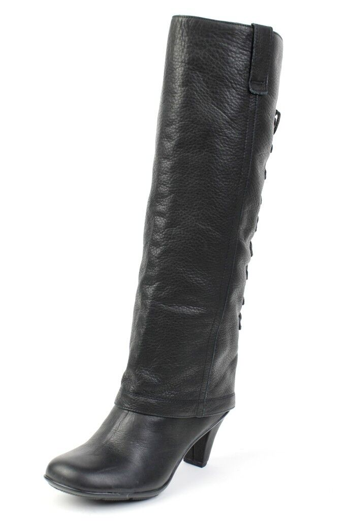 Gentle Souls 'Oh Shucks' BLACK Tall Boot Lace Up Knee High Leather NEW