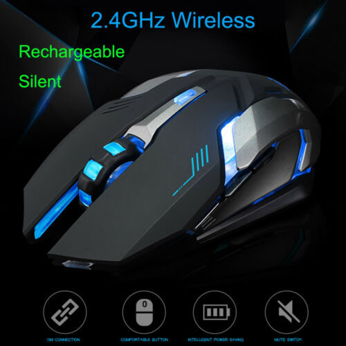 USB Rechargeable Wireless Silent LED Backlit Optical Ergonomic Gaming Mouse