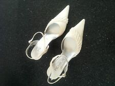 Ladies Skin Tone Satin Sling Back Shoes With Crystals - UK Size 5.5 (EU39)