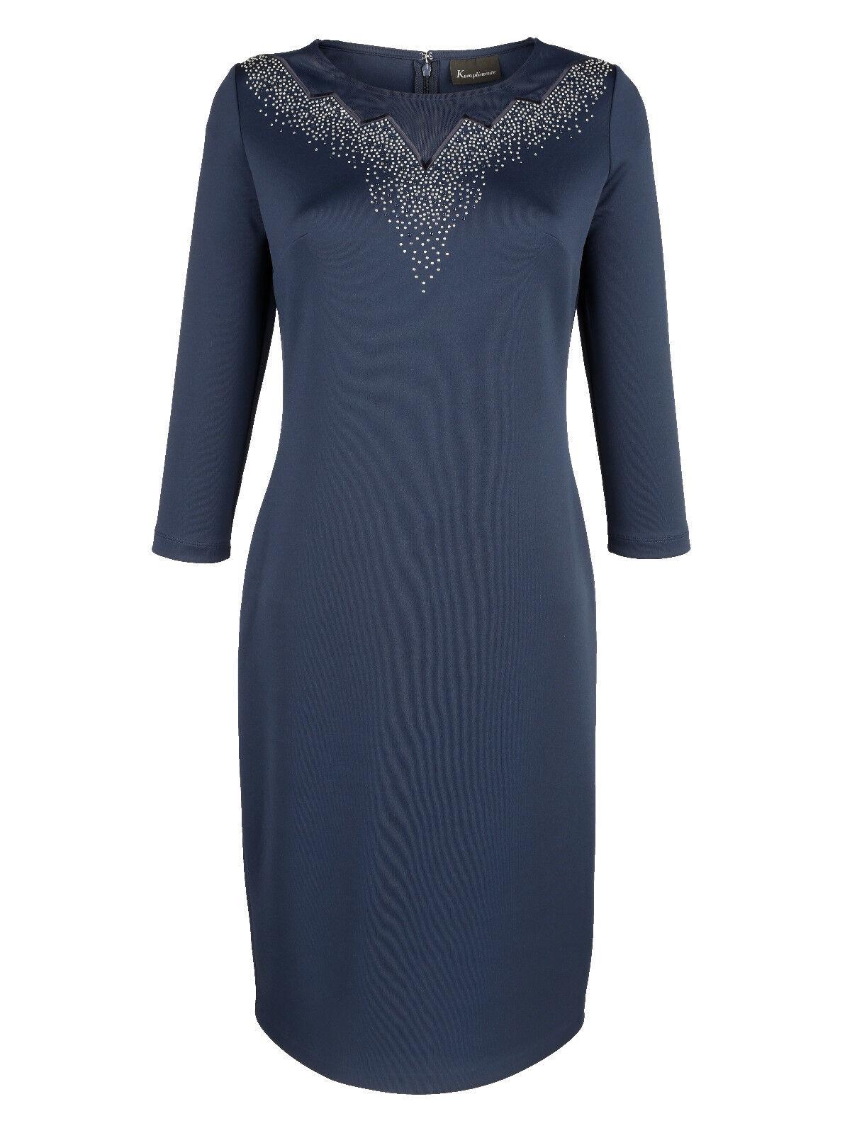 Jersey Jersey Jersey Kleid nacht-blue Strasssteine Gr. 46, Gr. 48, Gr. 50, 52, 54 0518276766 ab1010